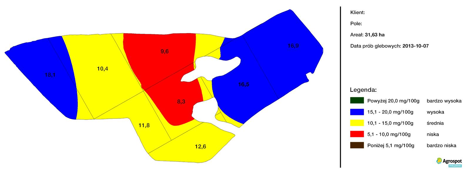 Mapa zasobności glebowej Fosfor