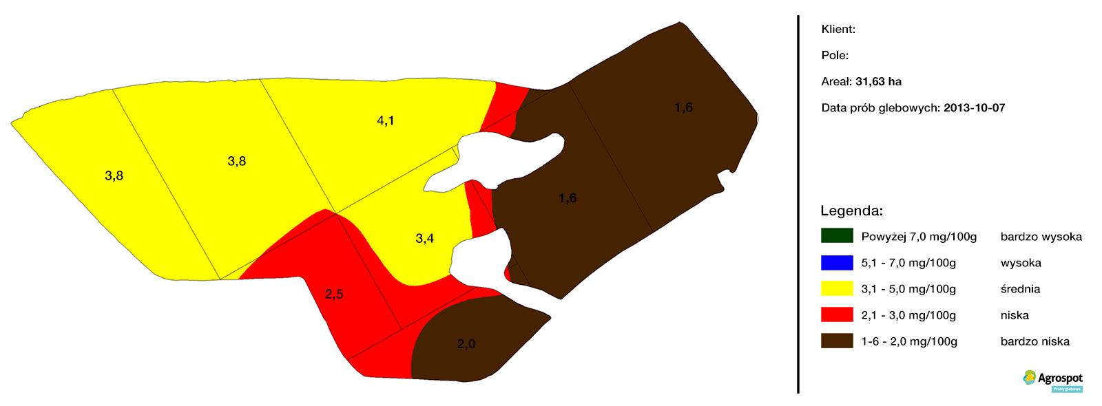 Mapa zasobności glebowej Magnez